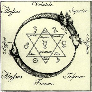 Ouroboros-and-solomons-seal-woodcut
